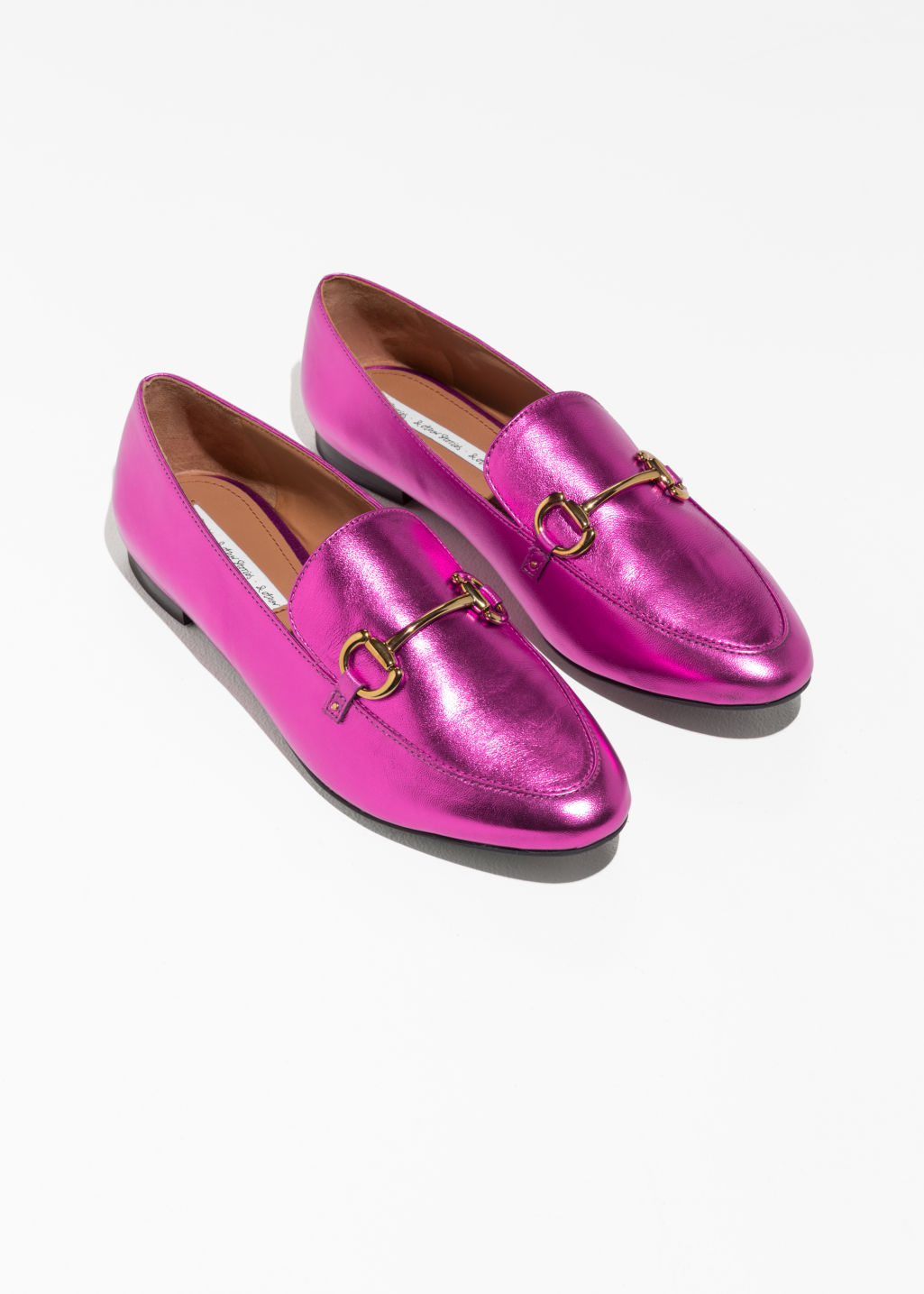 Back image of Stories horsebit buckle loafers in pink