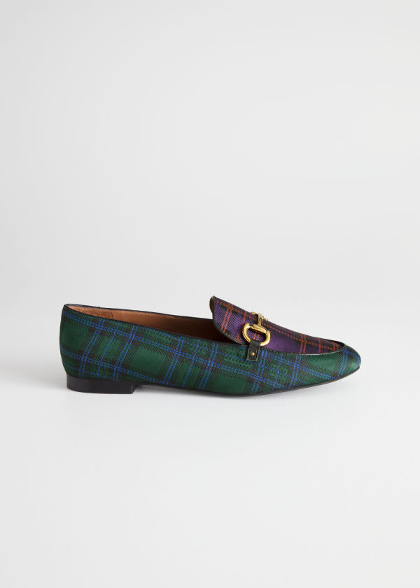 Front image of Stories equestrian buckle loafers in blue