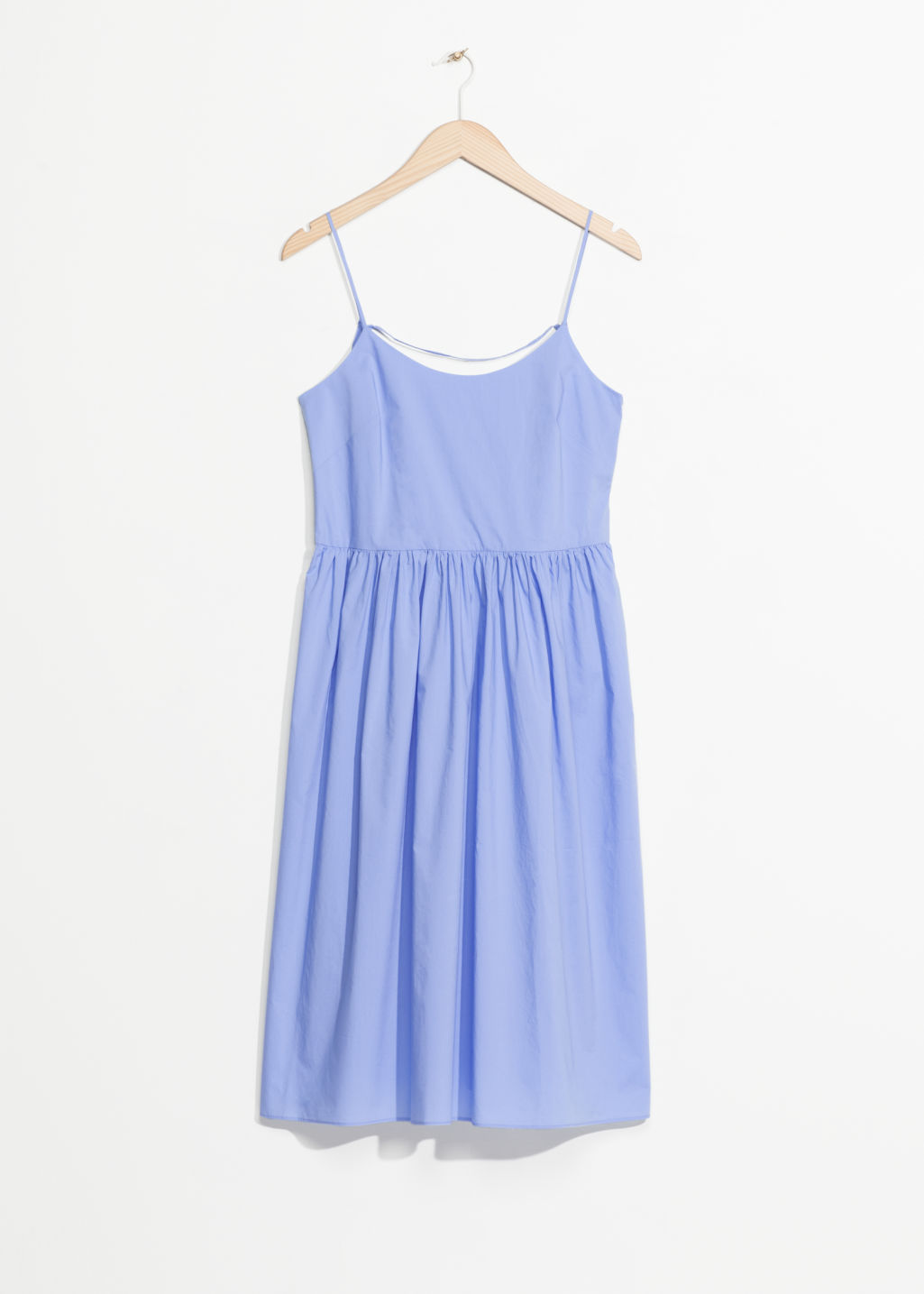 Front image of Stories lace-up cotton dress in blue