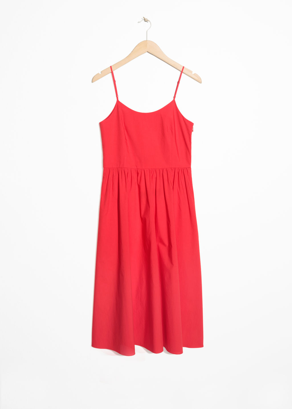 Front image of Stories lace-up cotton dress in red