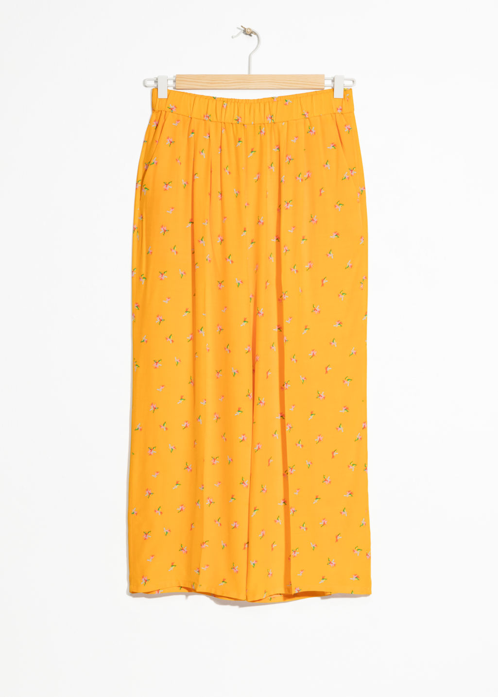 Front image of Stories starry sky print culottes in yellow