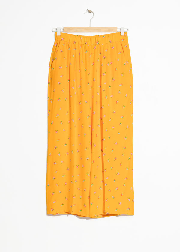 Tropical Flower Print Culottes