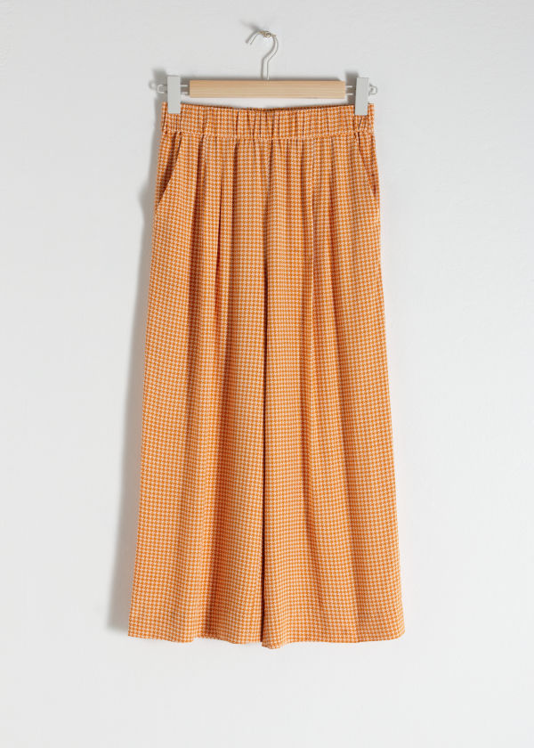 Front image of Stories high waisted culottes in yellow