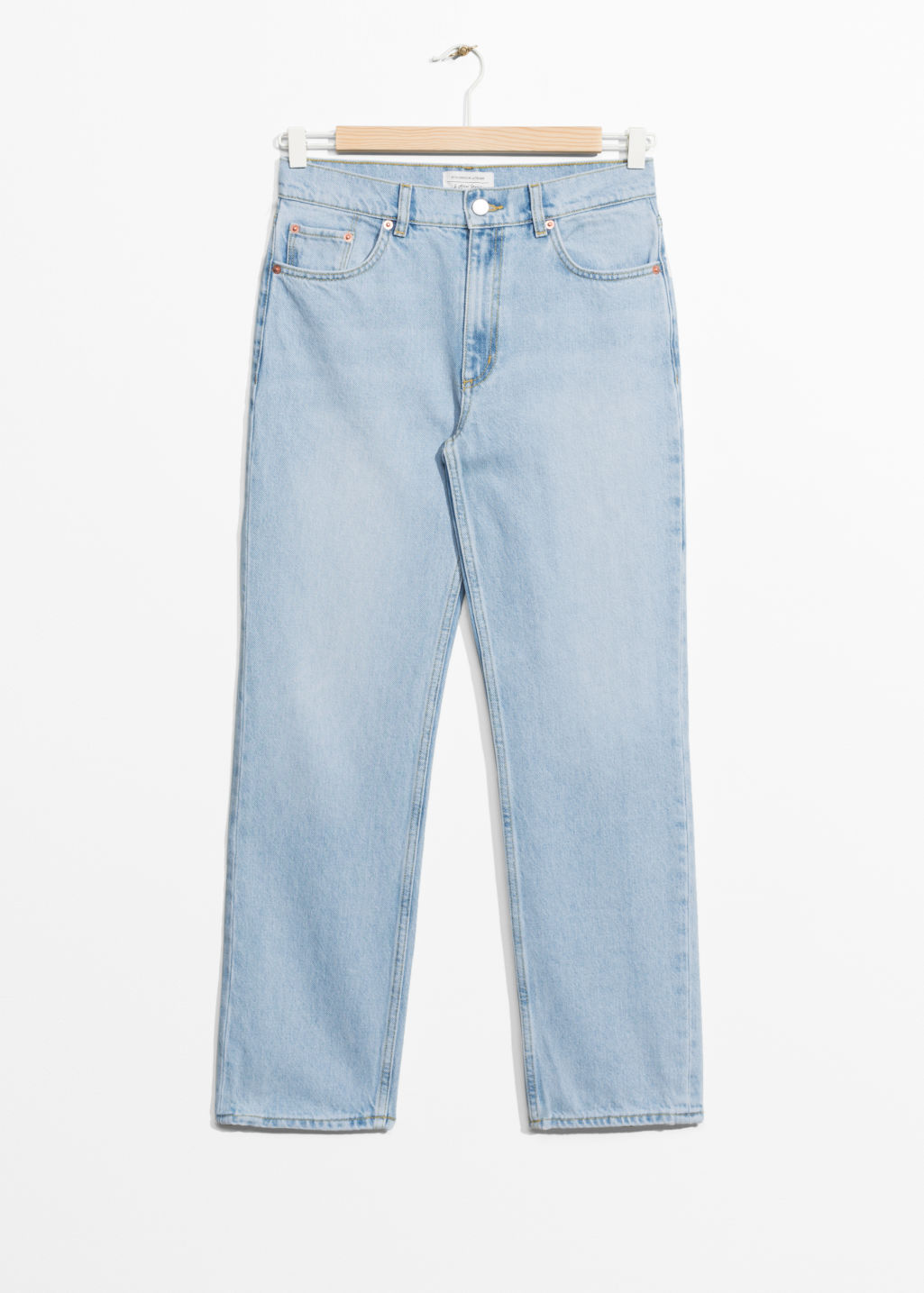 Front image of Stories straight fit light wash jeans  in blue