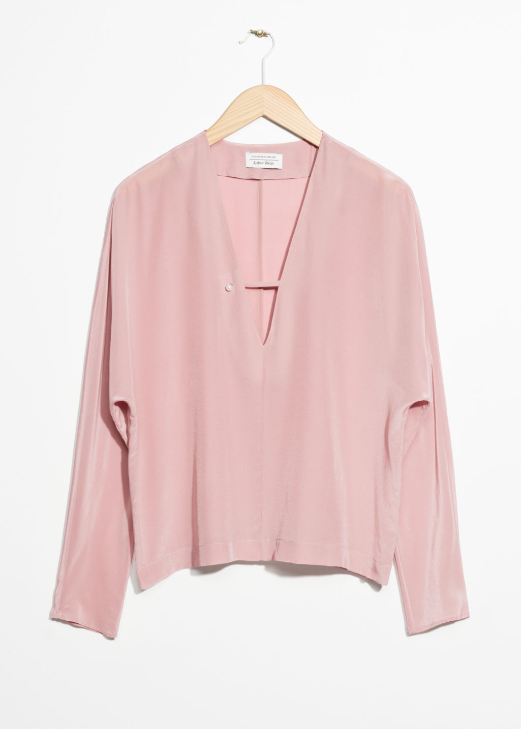 Front image of Stories silk blouse in pink