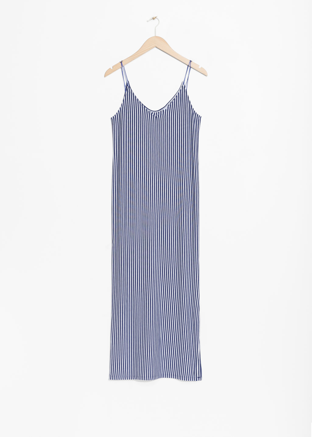 Front image of Stories spaghetti strap maxi dress in blue