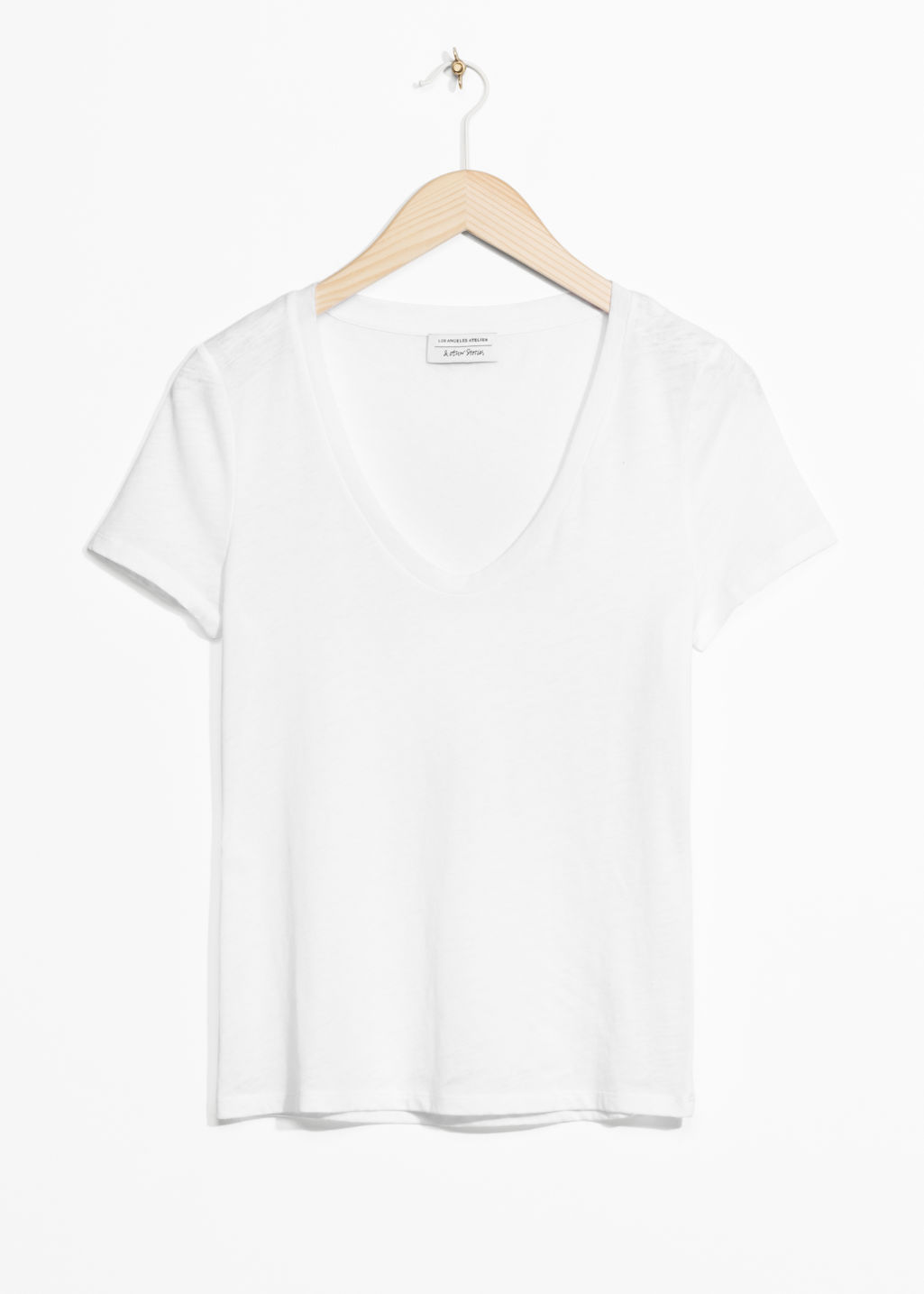 Front image of Stories round neck jersey t-shirt in white