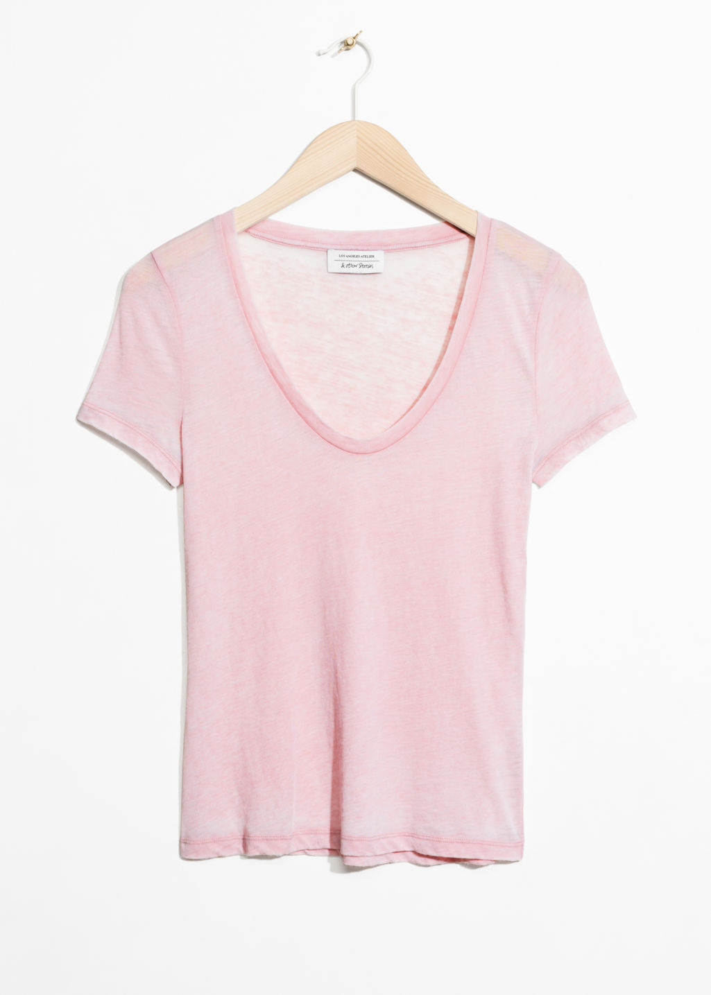 Front image of Stories round neck jersey t-shirt in pink