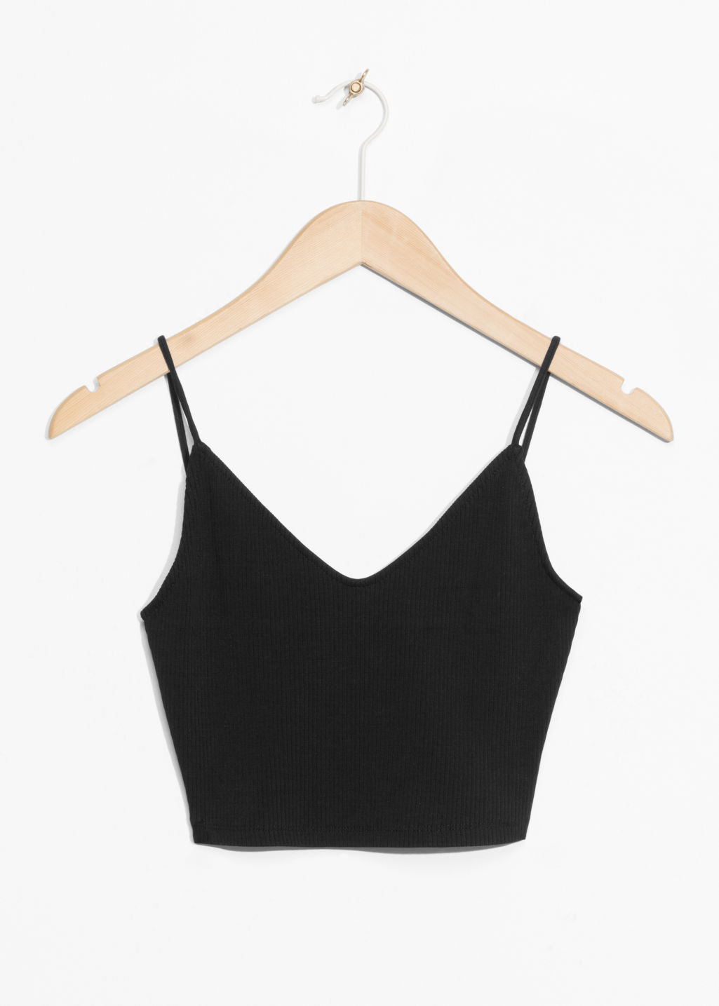 Front image of Stories thin strap crop top  in black