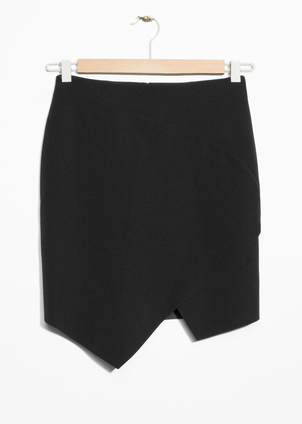 Front image of Stories asymmetric skirt in black