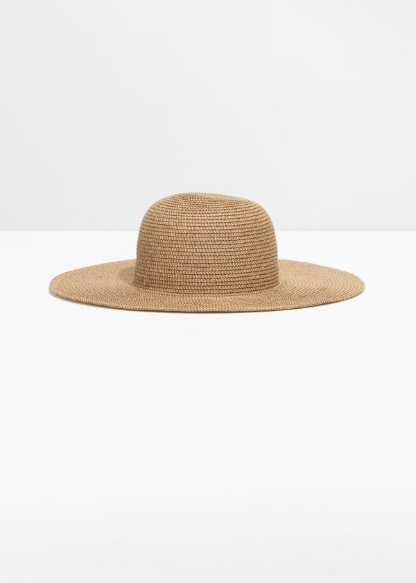 Front image of Stories wide brim straw hat in beige