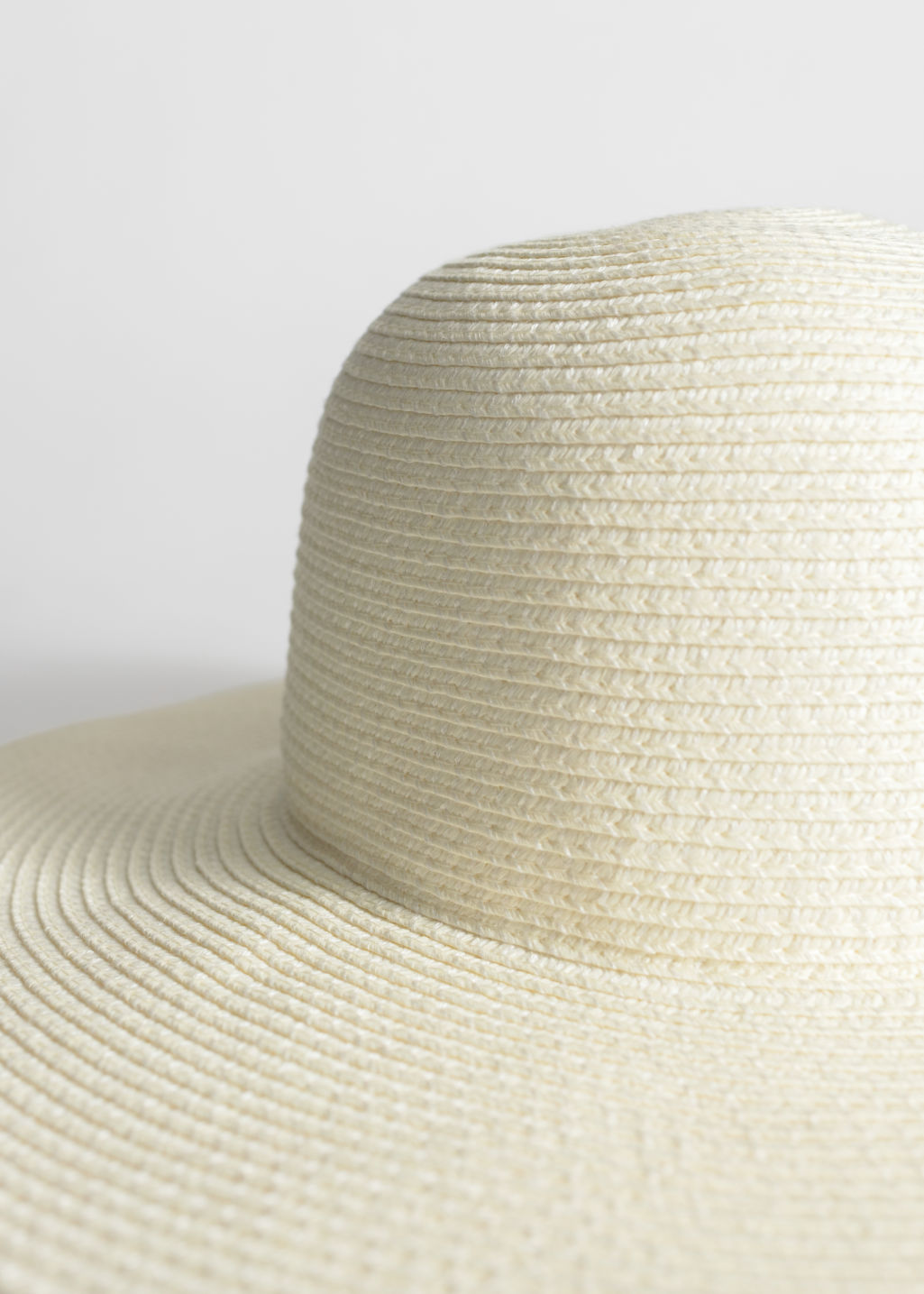 Back image of Stories wide brim straw hat in white