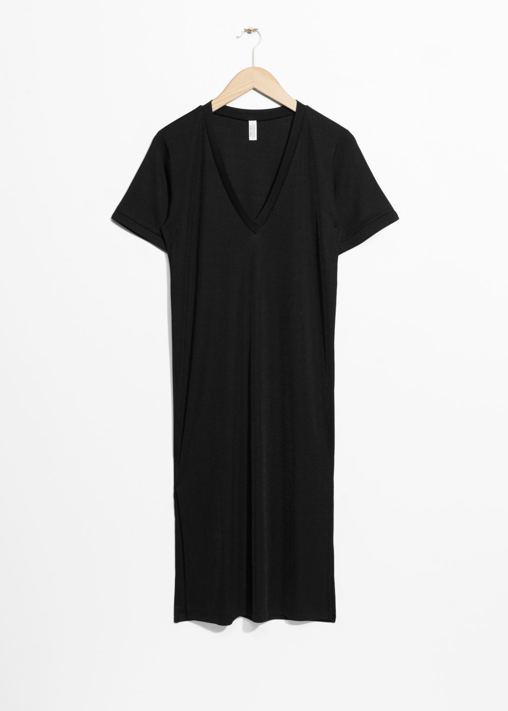 Front image of Stories oversized t-shirt dress in black