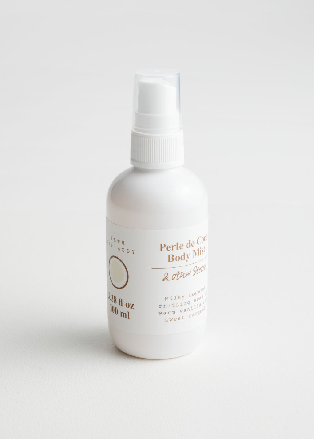 Front image of Stories perle de coco body mist in white