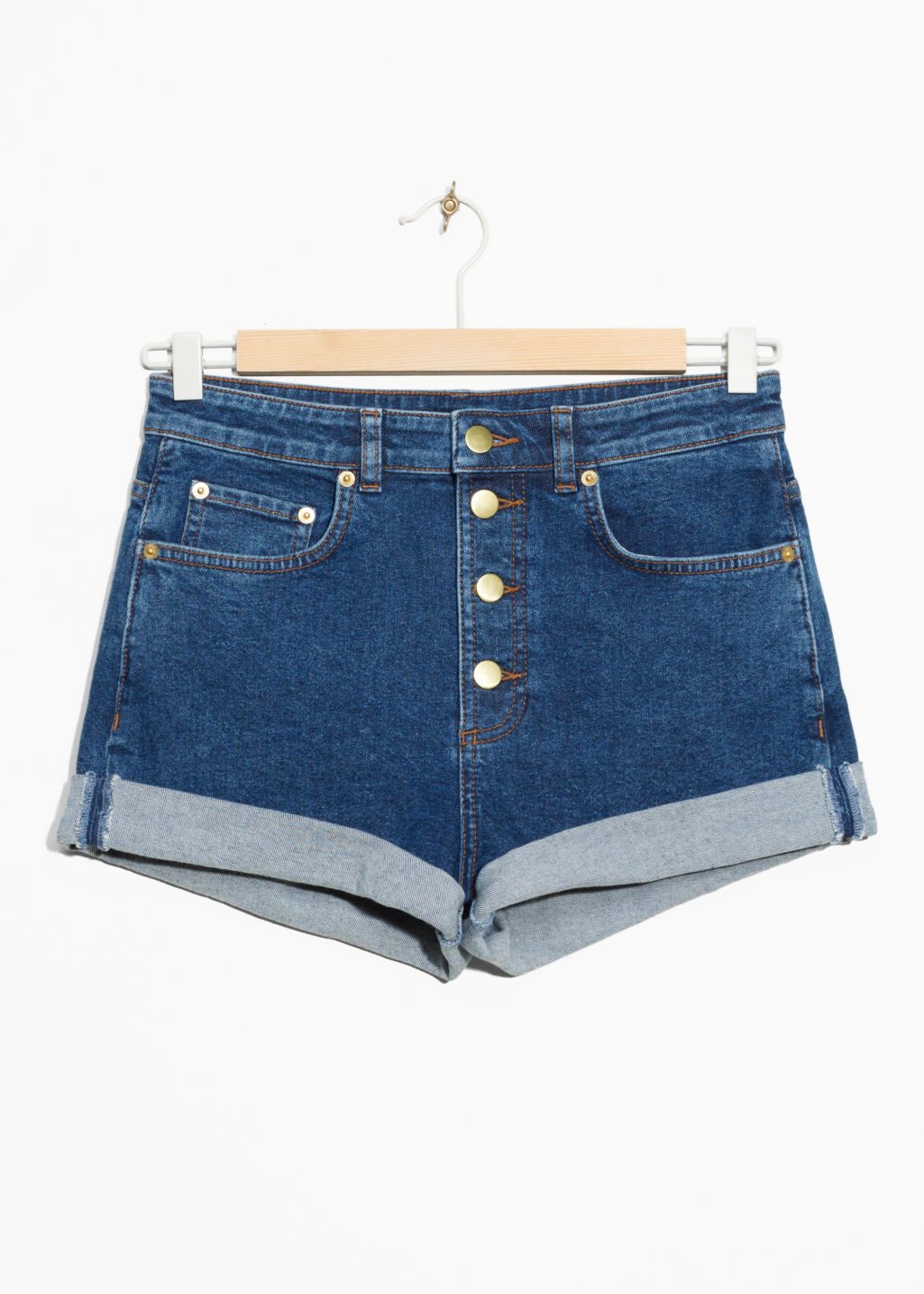 Front image of Stories button-down denim shorts in blue