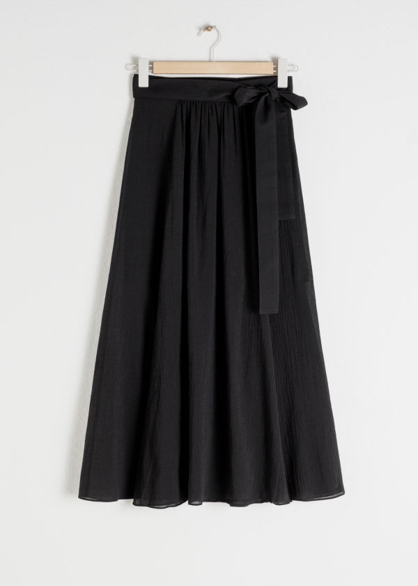 Front image of Stories slit crepe skirt in black