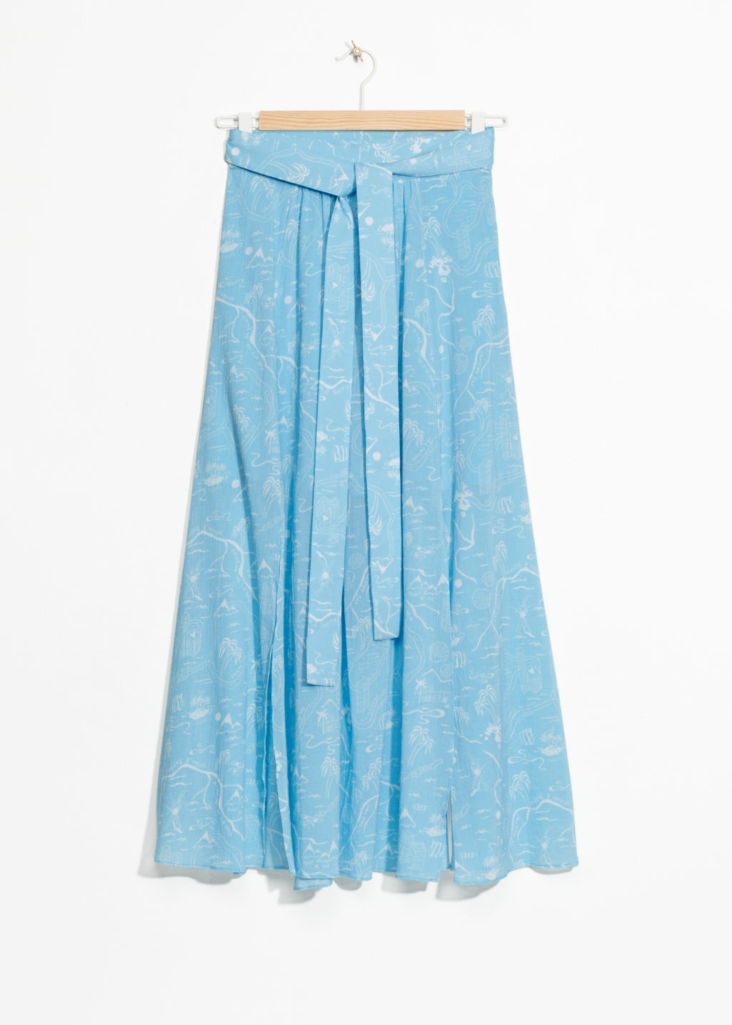 Front image of Stories slit crepe skirt in turquoise