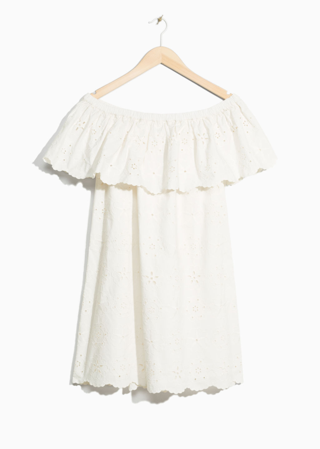 Front image of Stories embroidery frill dress in white