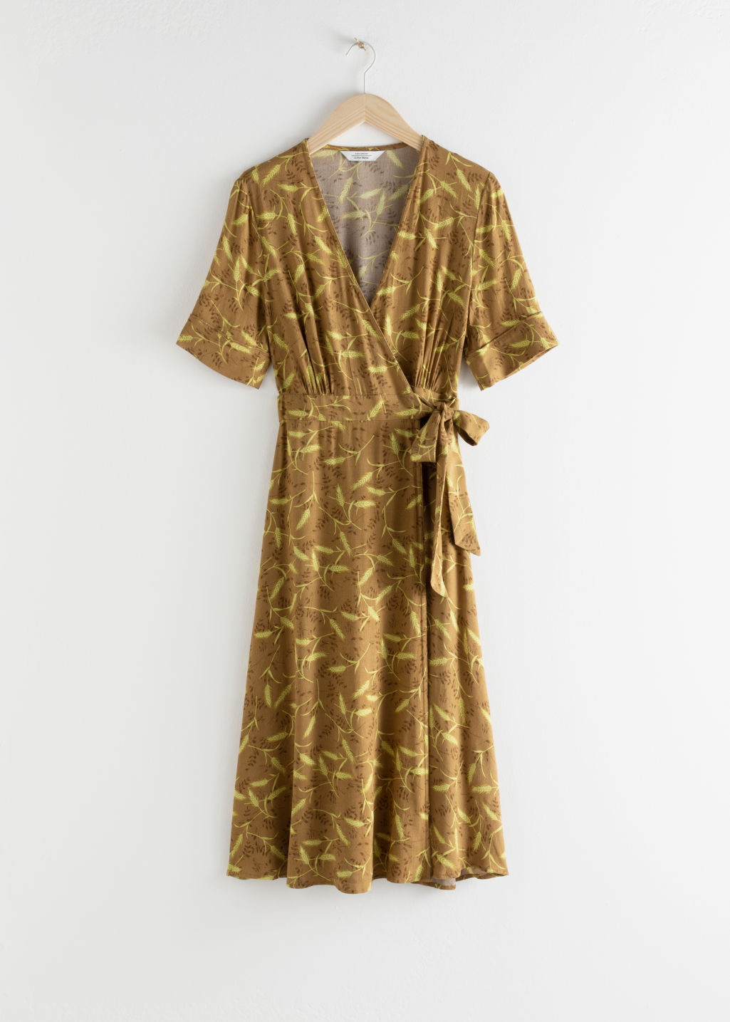 Front image of Stories midi wrap dress in beige