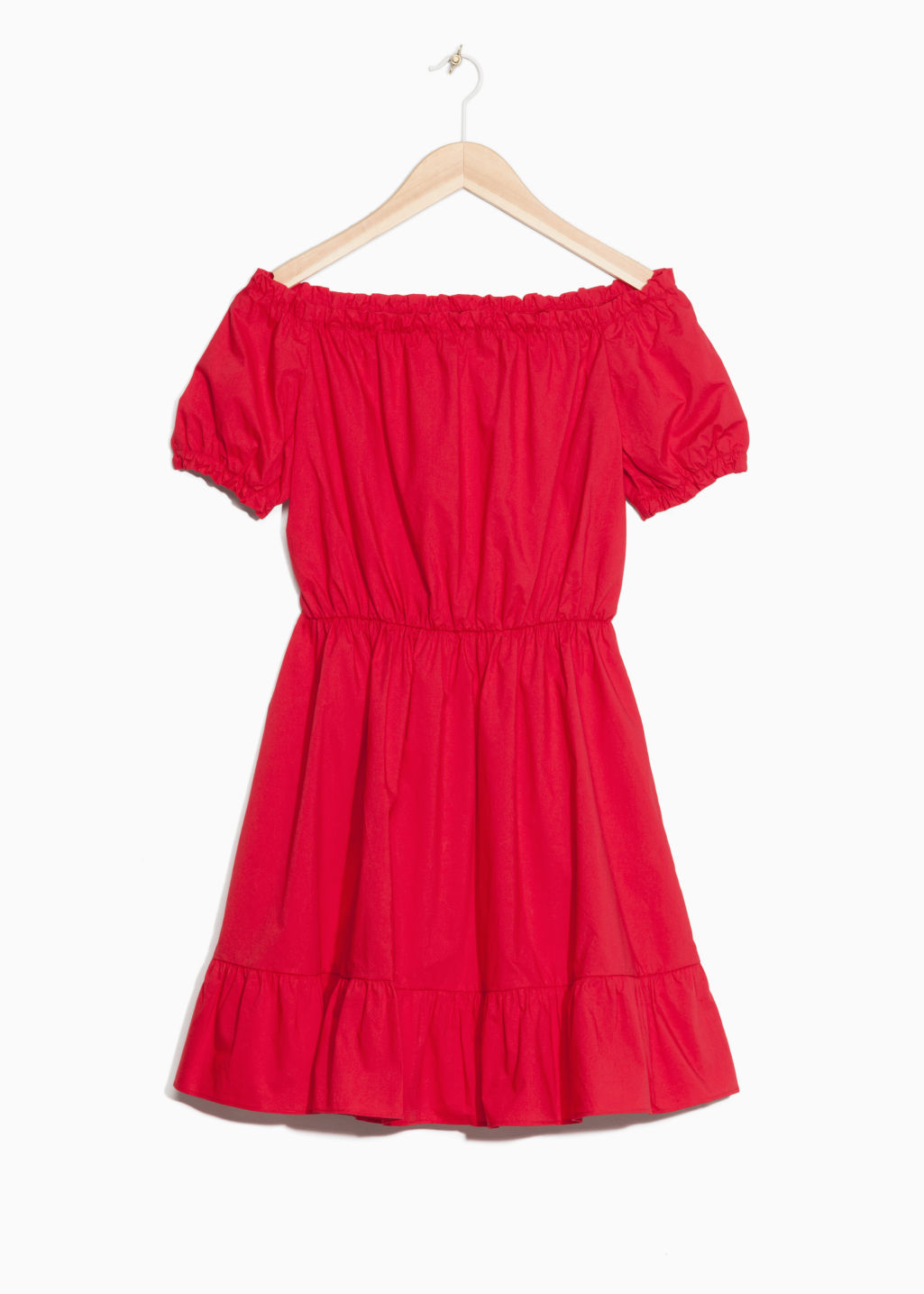 Front image of Stories off-shoulder dress in red