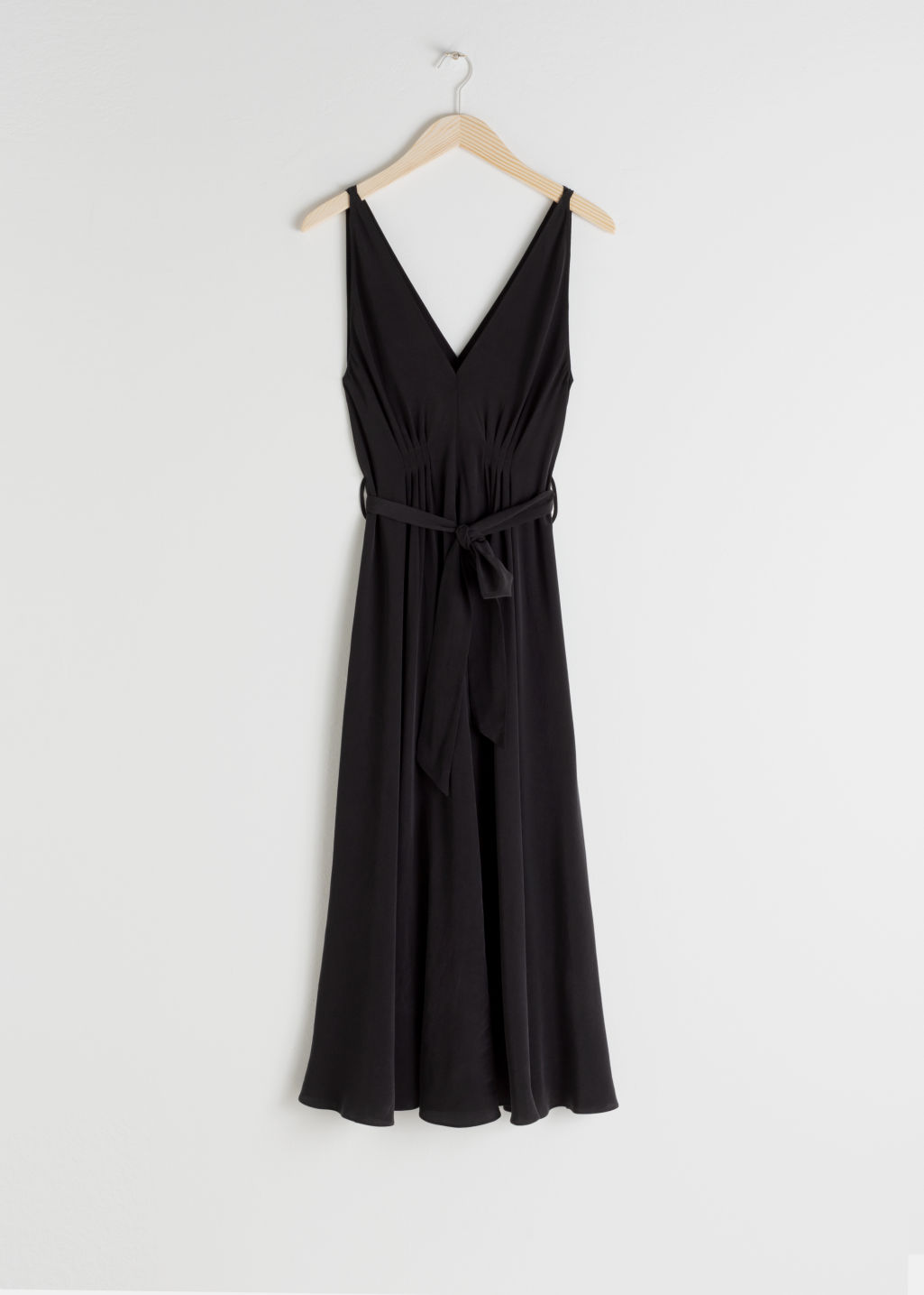 Front image of Stories silk dress in black