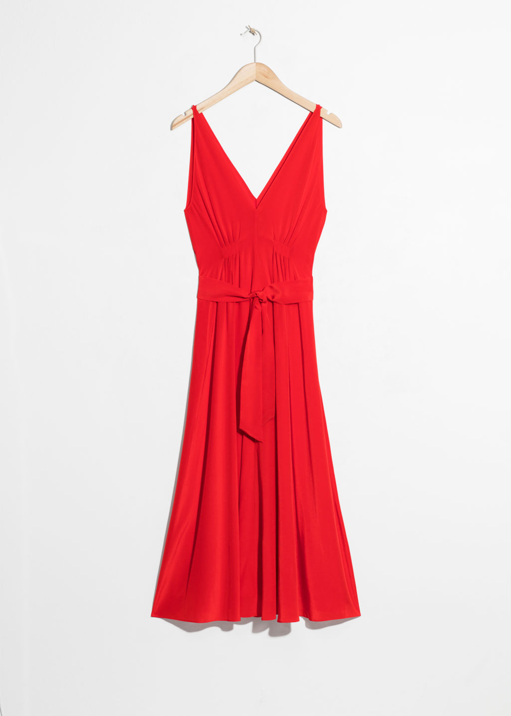 Front image of Stories silk dress in red