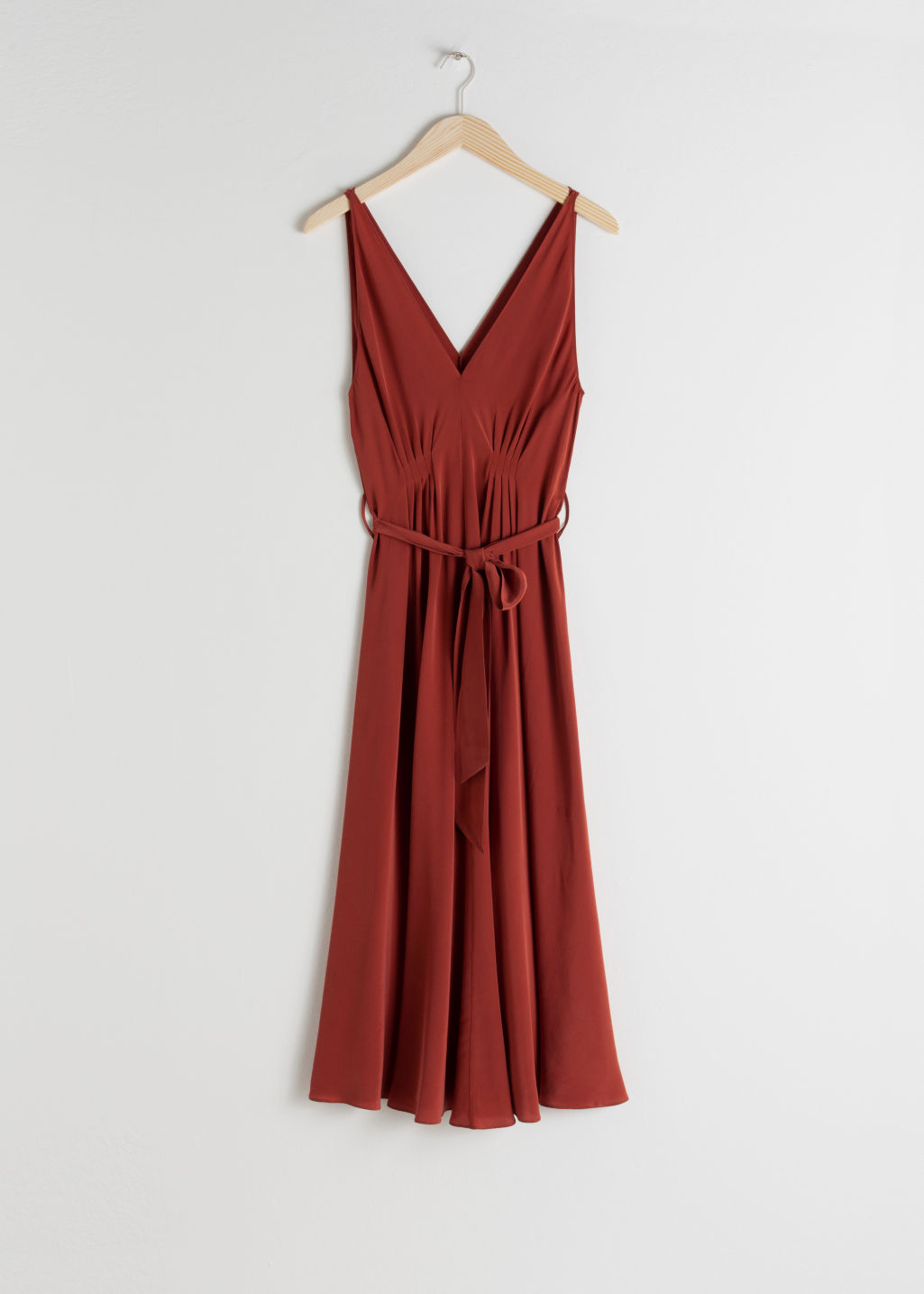 Front image of Stories belted silk midi dress in red