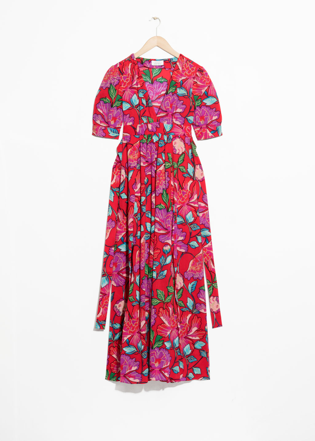 Front image of Stories summer fiesta print dress in red