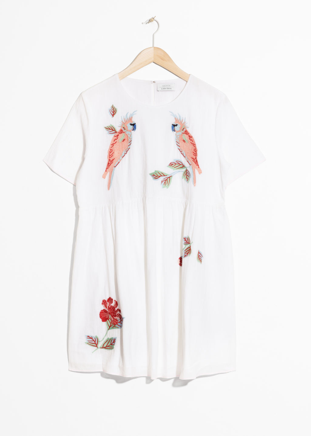 Front image of Stories embroidery cotton dress in white