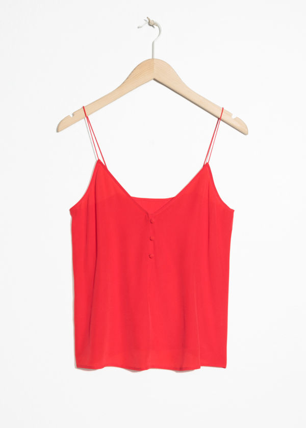 Front image of Stories silk camisole top in red