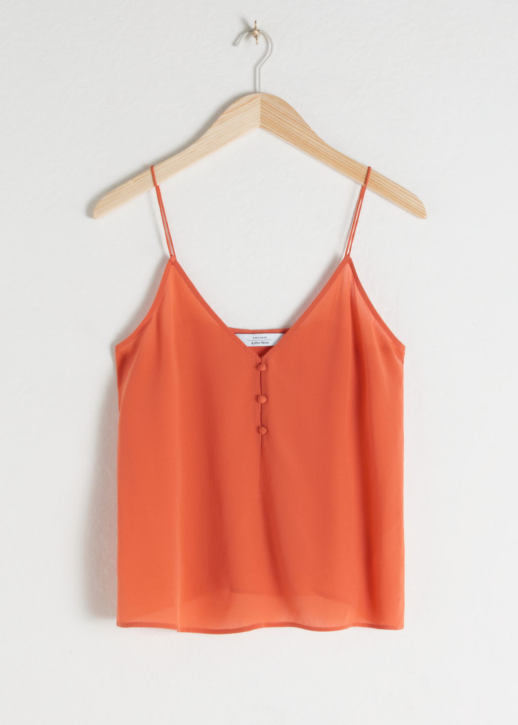 Front image of Stories silk camisole top in orange