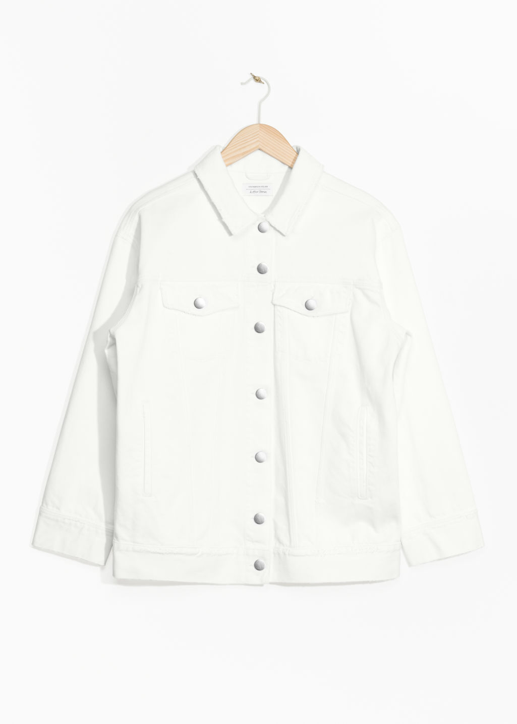 Front image of Stories denim jacket in white