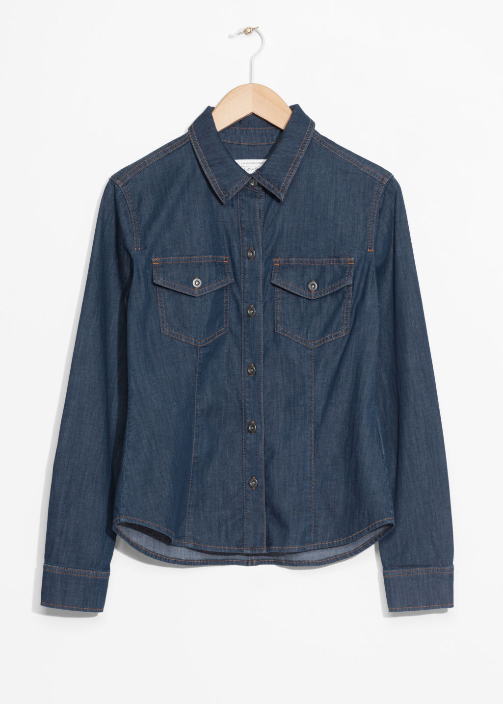 Front image of Stories slim fit denim shirt in blue
