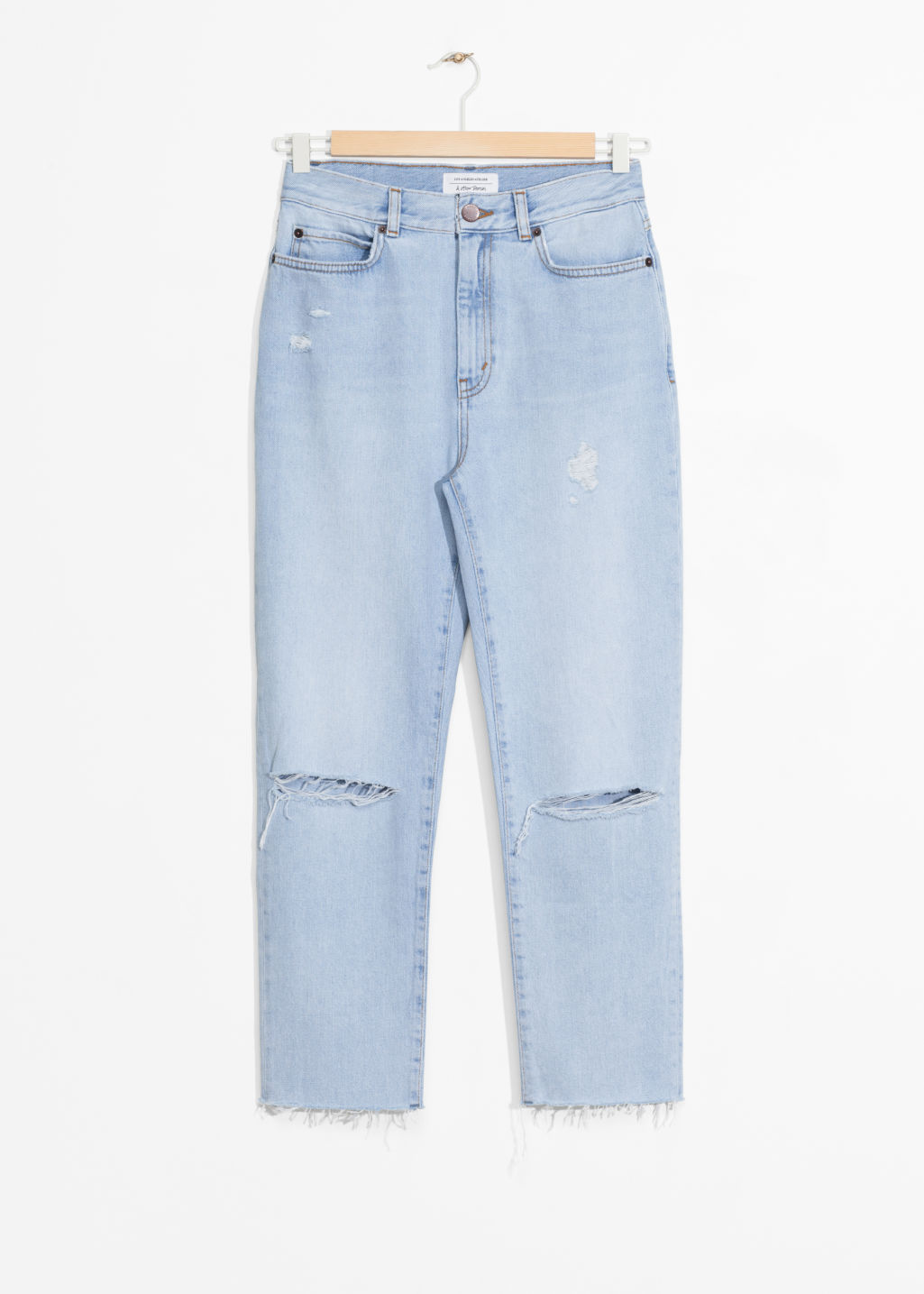 Front image of Stories ripped denim jeans in blue