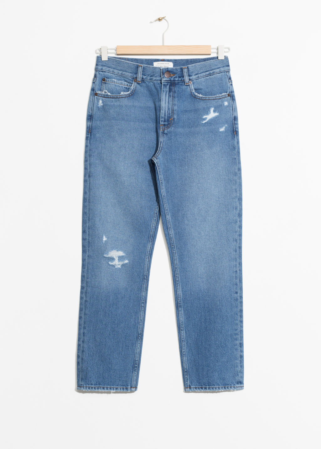 Front image of Stories organic cotton straight fit denim in blue
