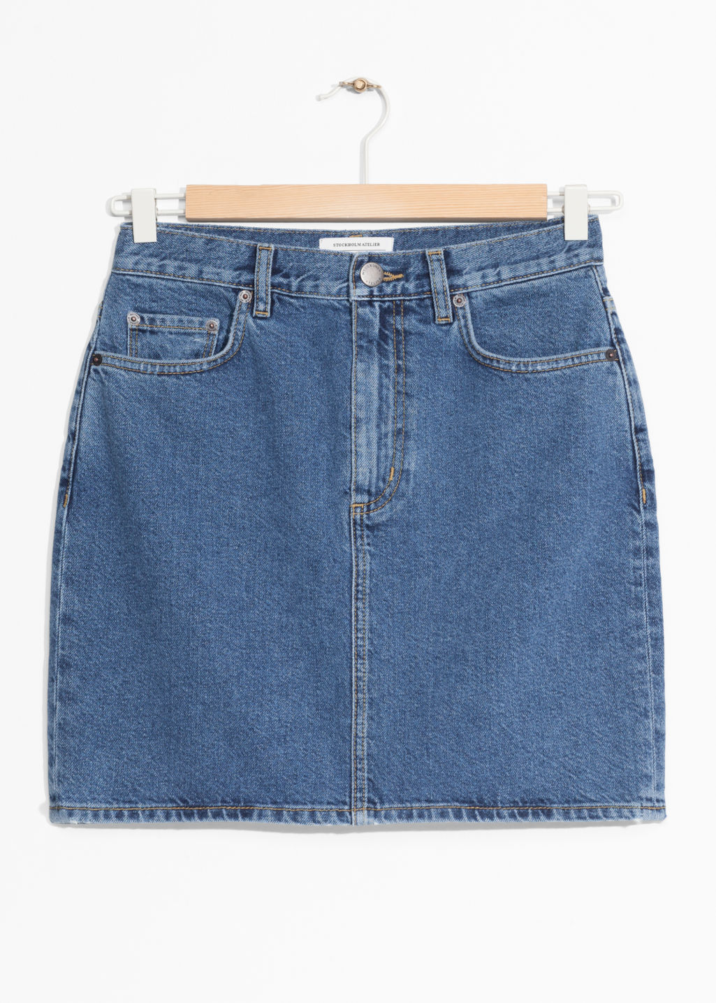 Front image of Stories denim skirt in blue