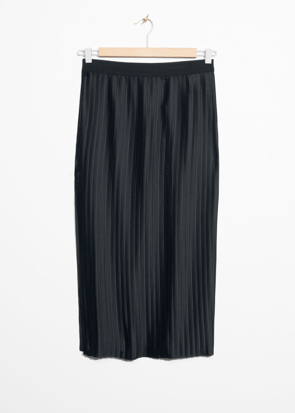 Front image of Stories pleated slit skirt in black