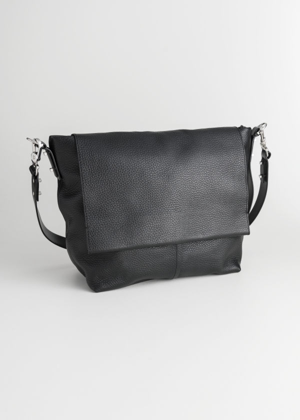 Grainy Leather Hobo Bag