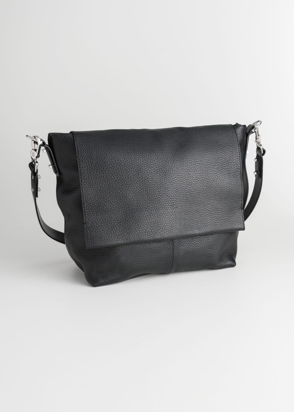 Front image of Stories small leather hobo bag in black