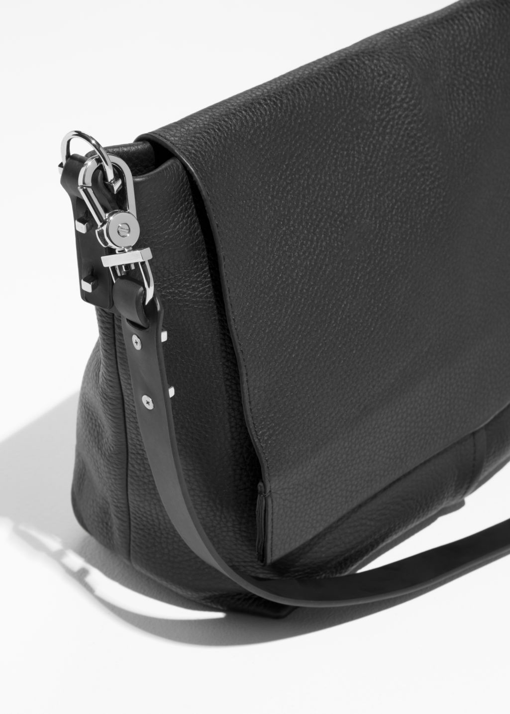 Back image of Stories small leather hobo bag in black