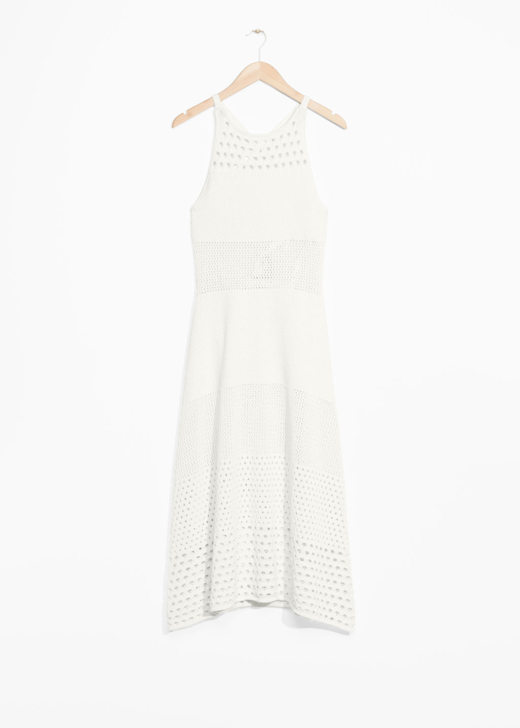 Front image of Stories crochet dress in white