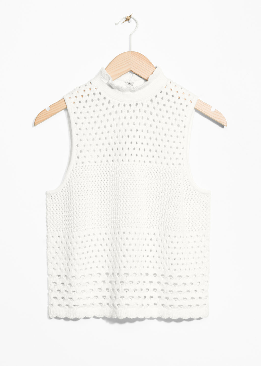 Front image of Stories crochet top in white