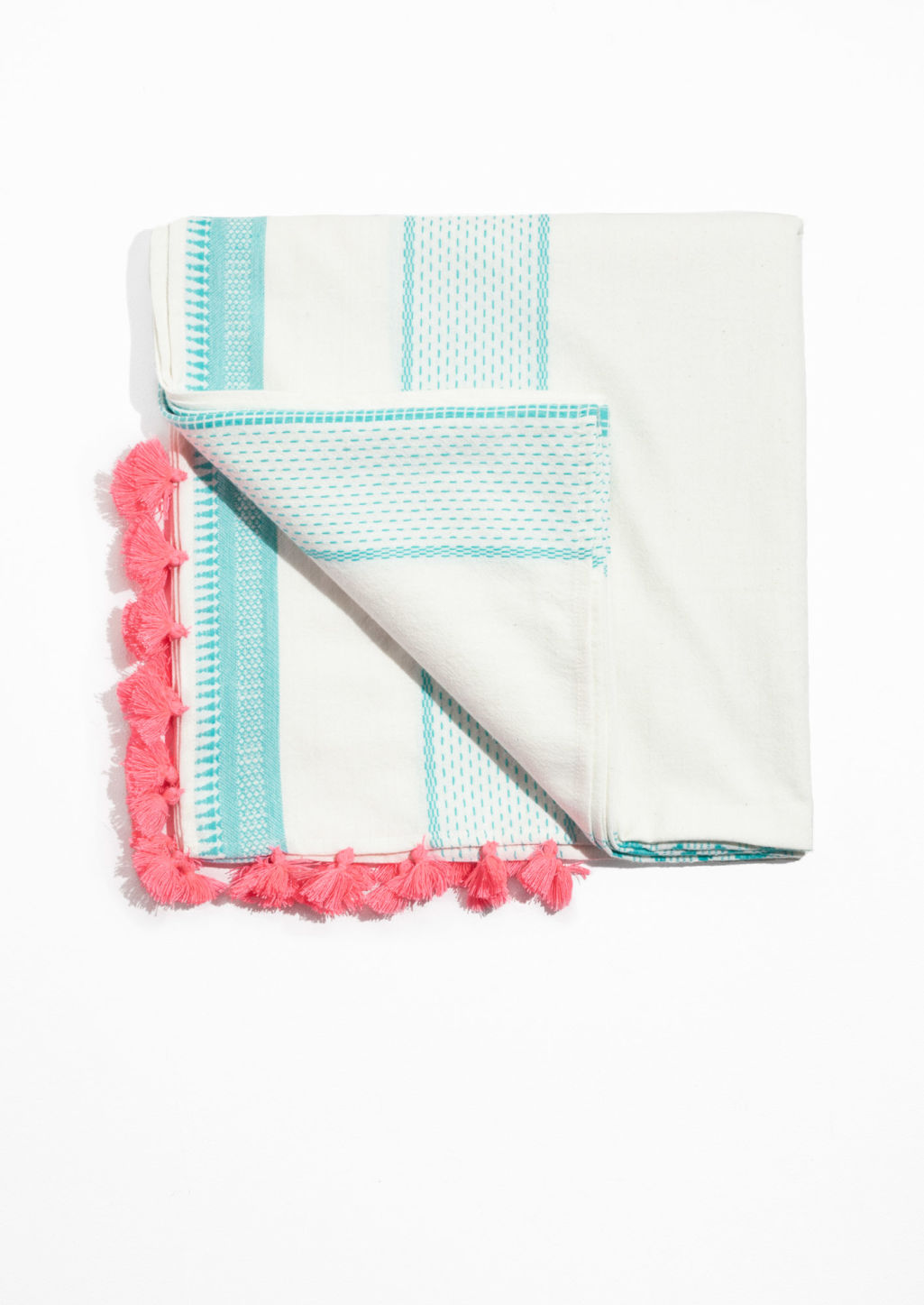 Front image of Stories tassel and embroidery scarf in pink