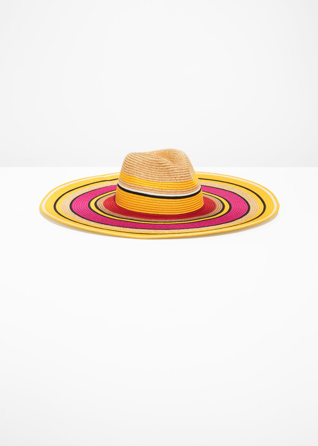 Front image of Stories wide brim straw hat in yellow