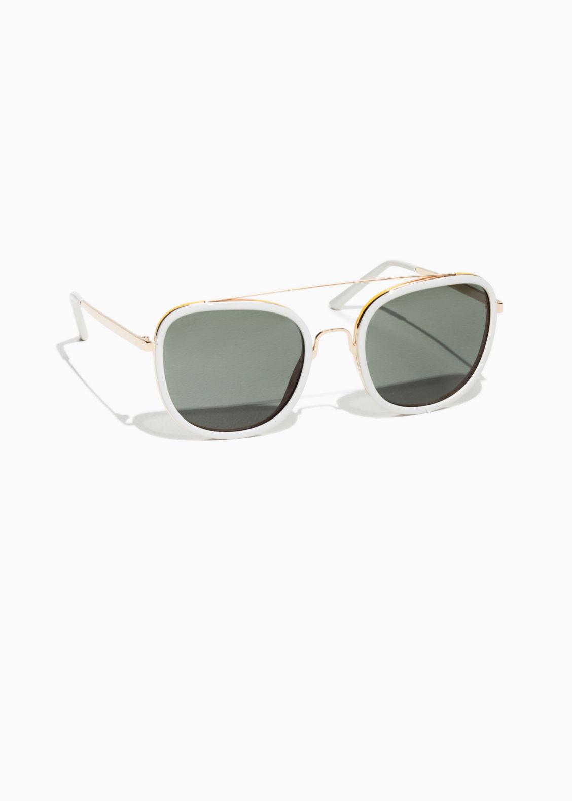 Metal Frame Aviator Sunglasses - White/Gold - Sunglasses - & Other ...