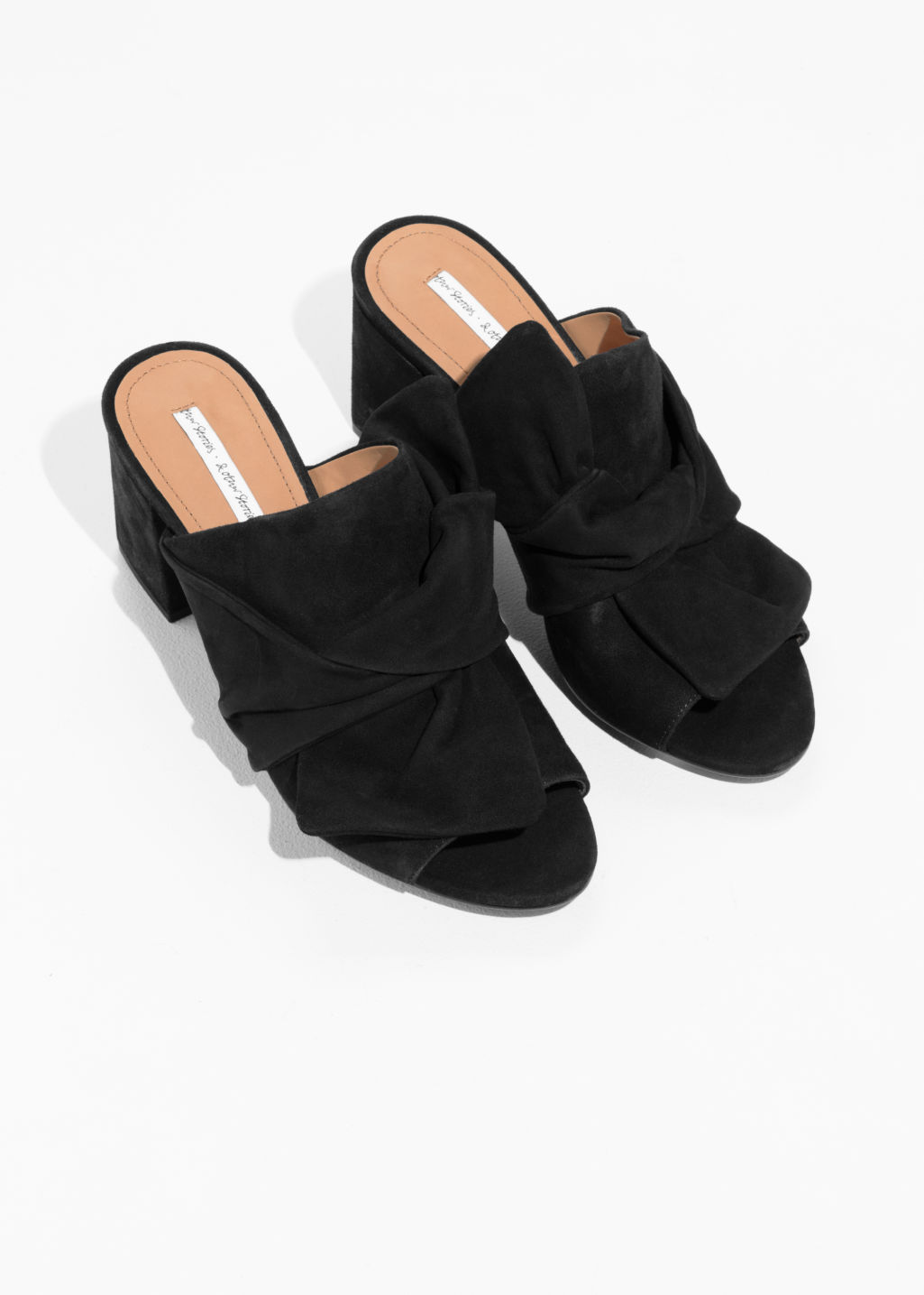 Back image of Stories bow suede mules in black