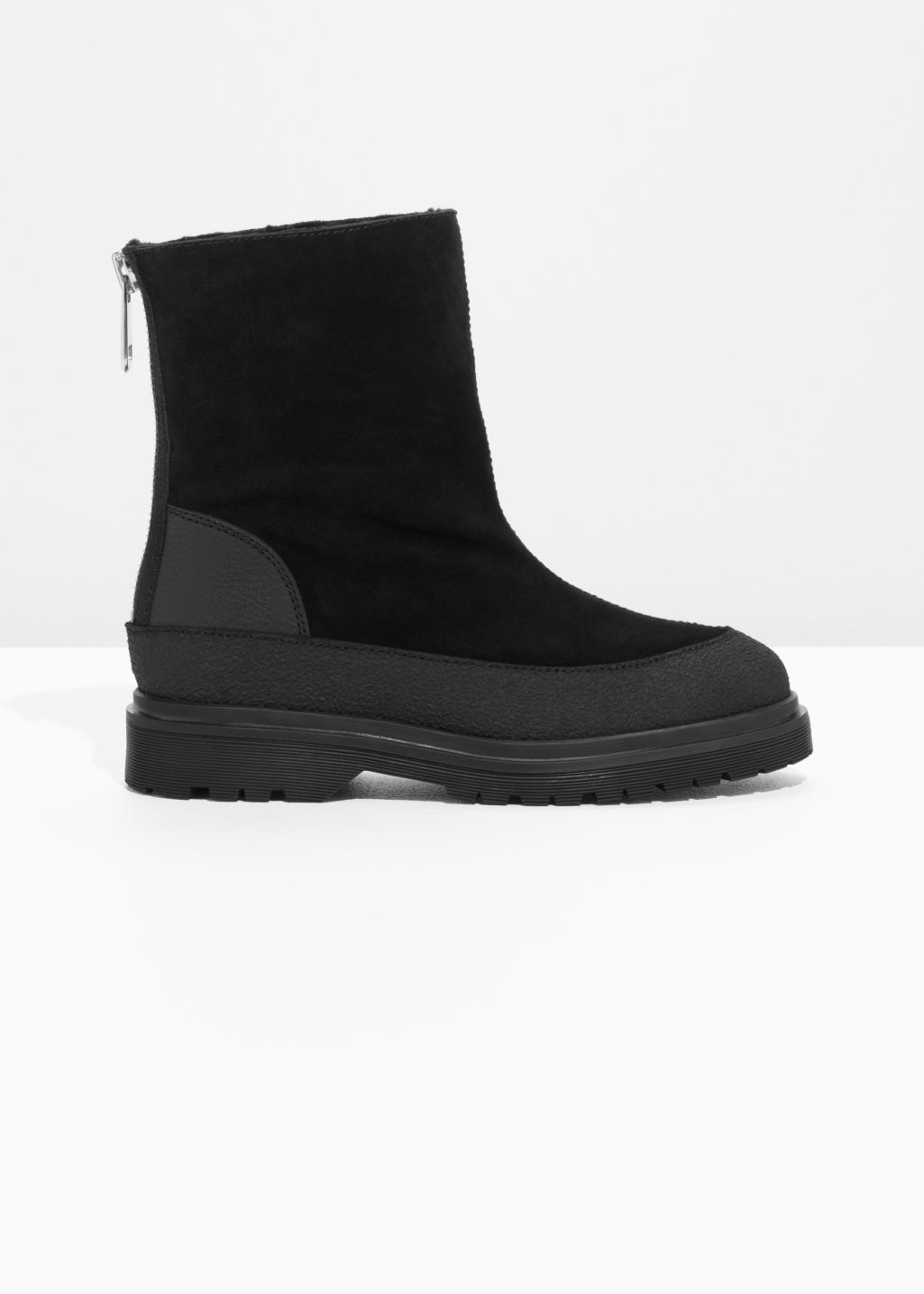 Front image of Stories suede snow boots in black