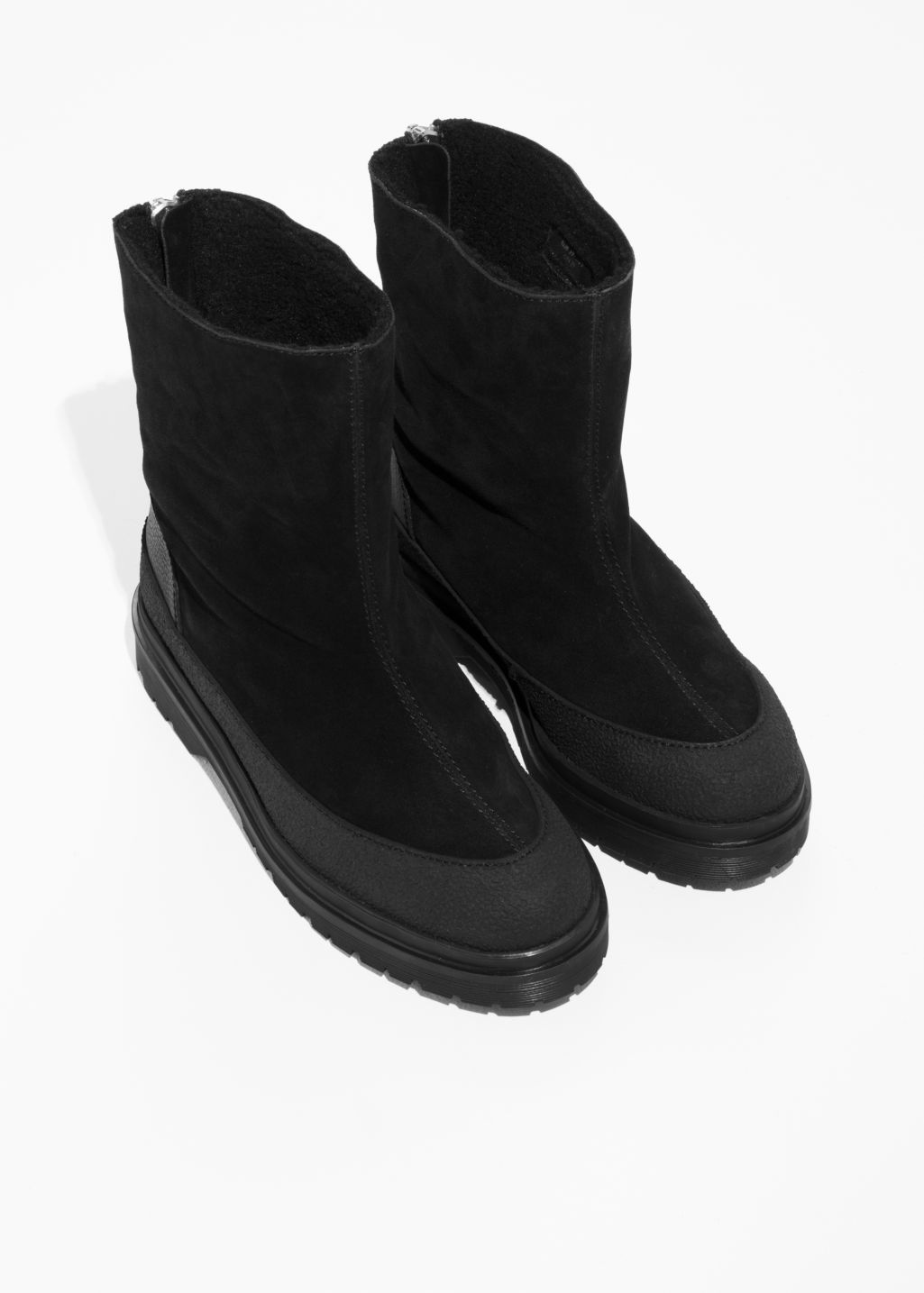Back image of Stories suede snow boots in black