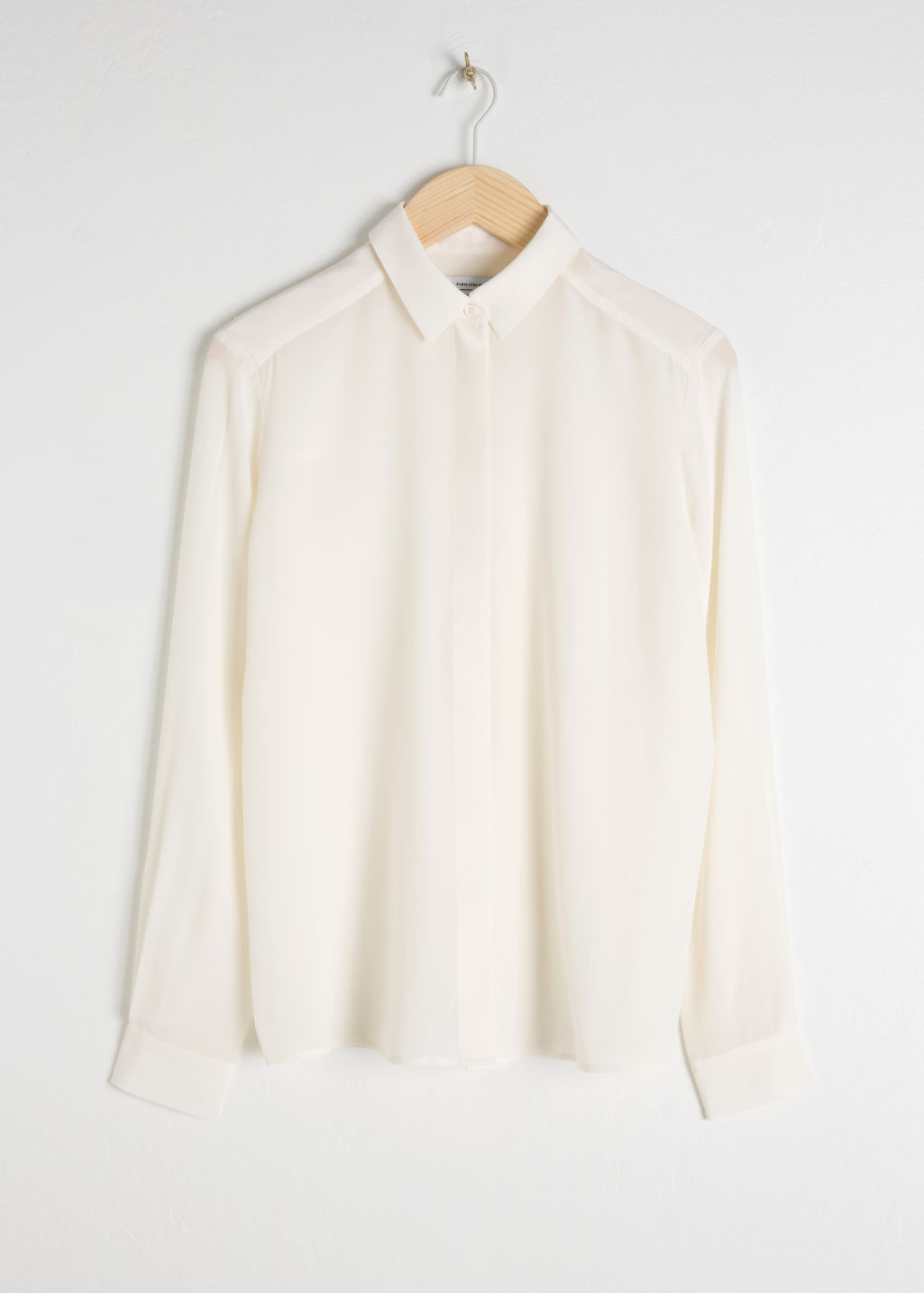Front image of Stories silk shirt in white