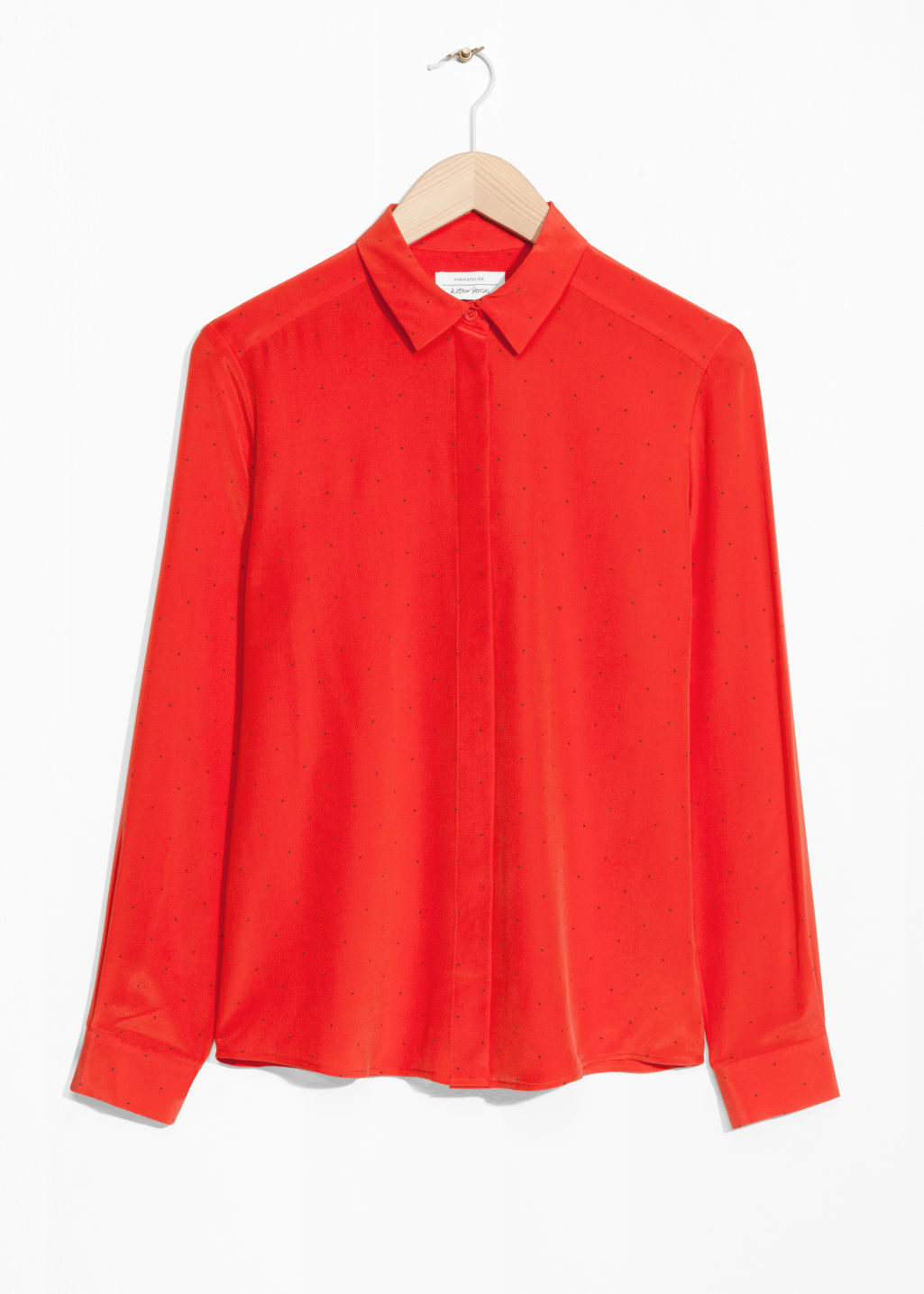 Front image of Stories collared silk shirt in red